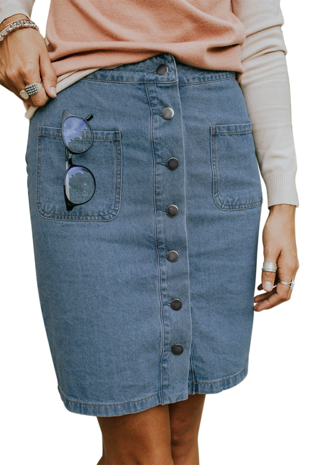Sky Blue Chic Button up Denim Skirt