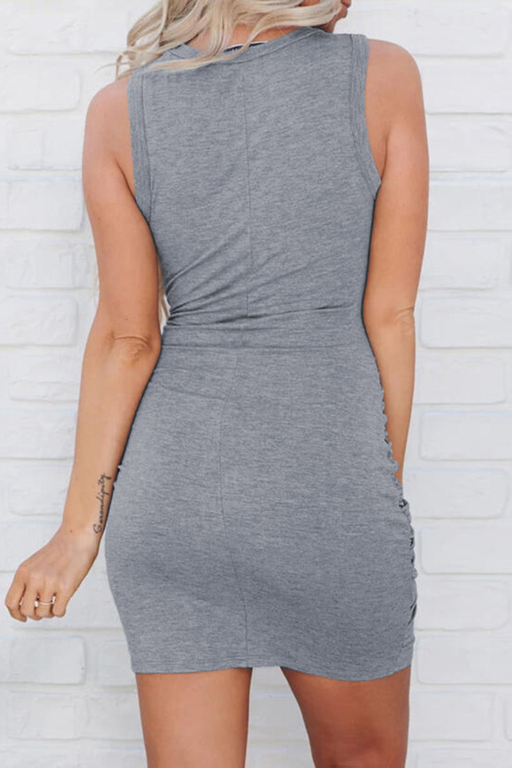 Gray Twist Knot Front Cutout Bodycon Dress