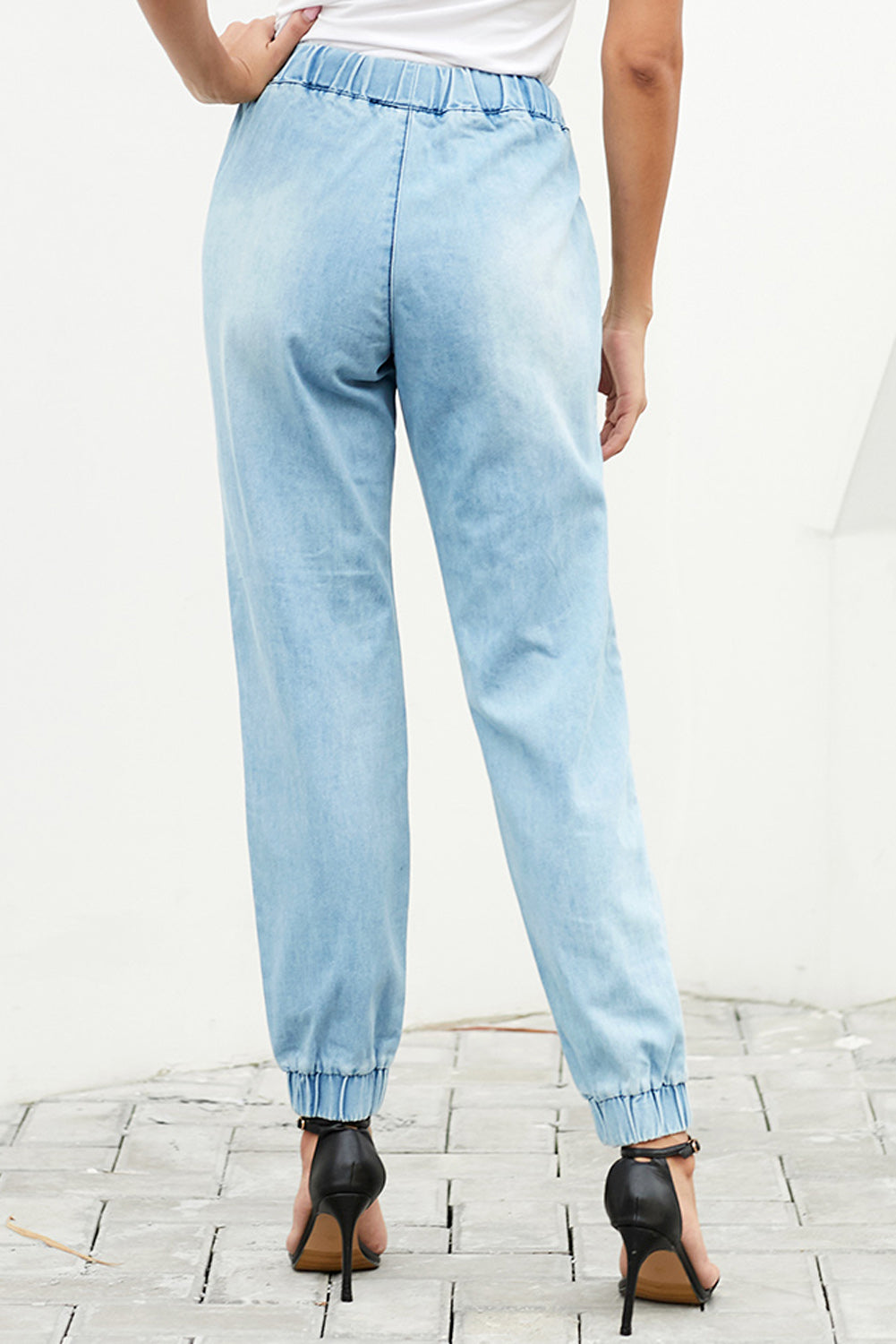 Sky Blue Distress Drawstring Pocketed Joggers