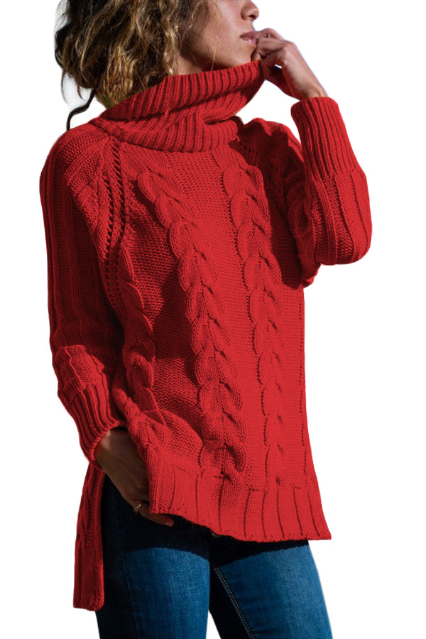 Red Turtle Neck Long Tail Cable Sweater