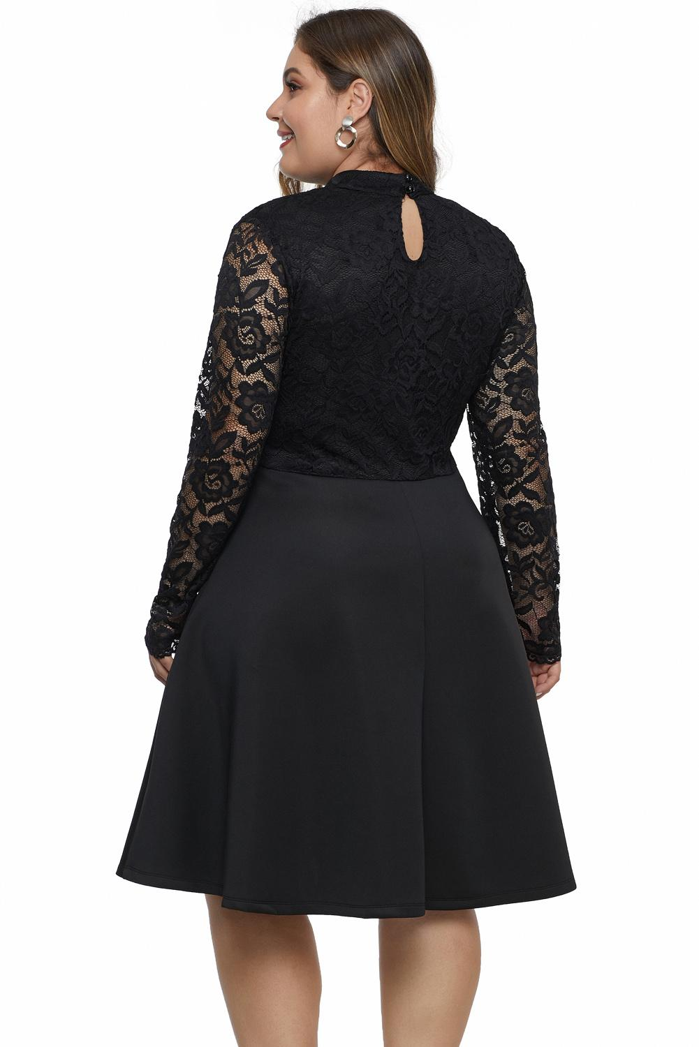 Black Keyhole Lace Bustier Plus Size Dress