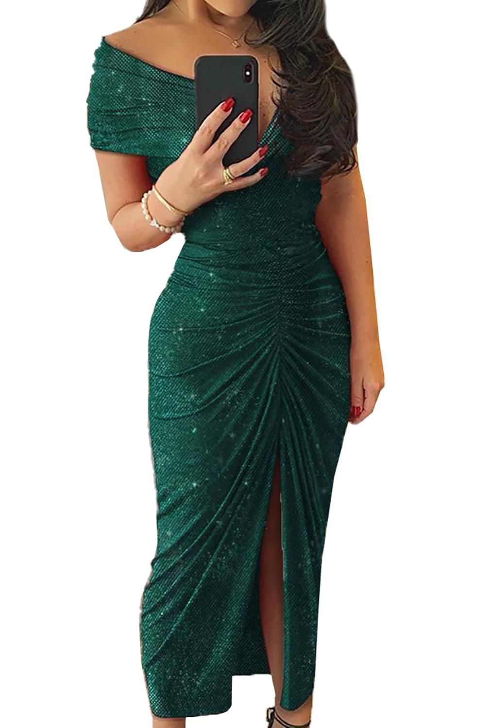 Green Glitter Off Shoulder Ruched Slit Party Dress