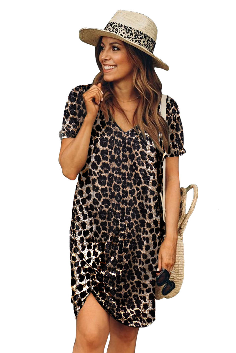 Leopard Print Short Sleeve Side Knot T-shirt Dress