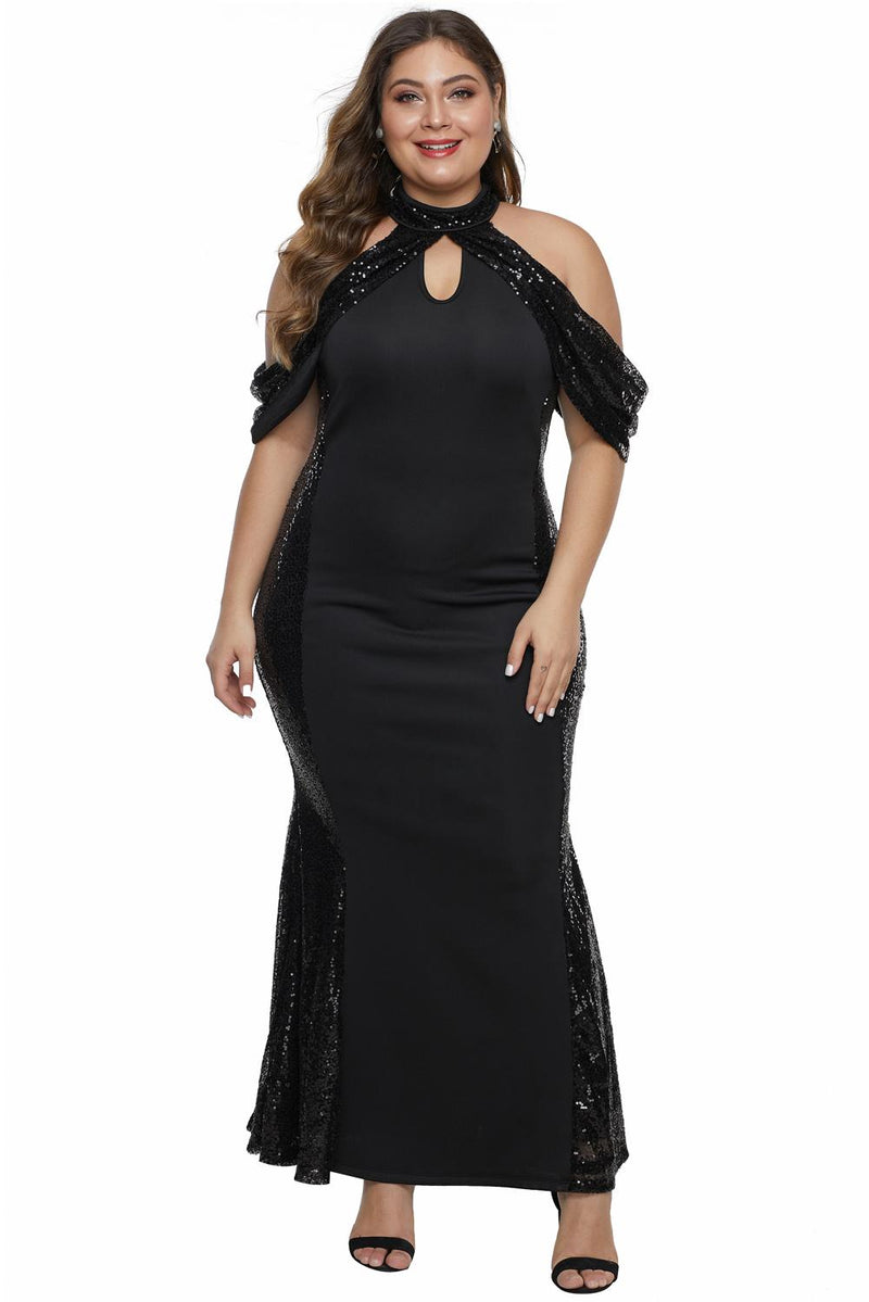 Black High Neck Drop Shoulder Sequin Décor Plus Size Gown