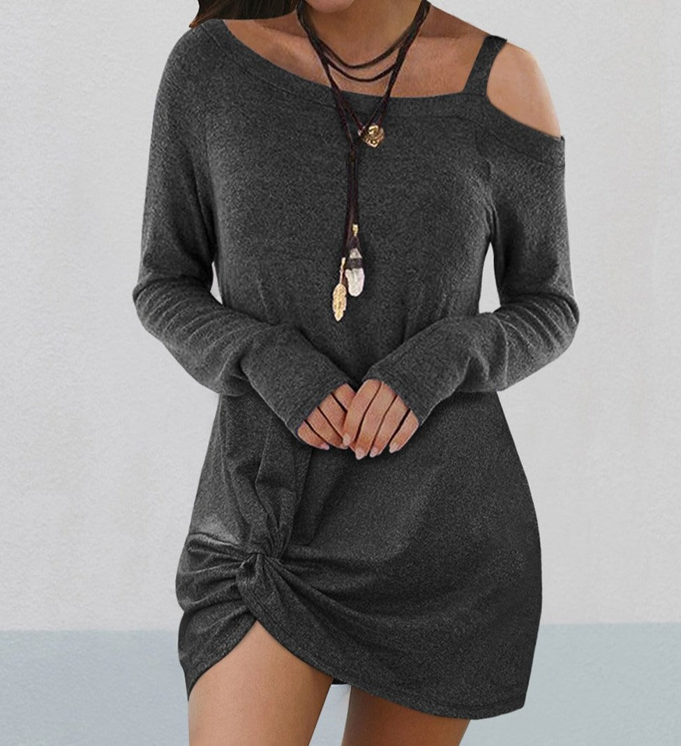 Black Cold Shoulder Twist Knit Mini Dress