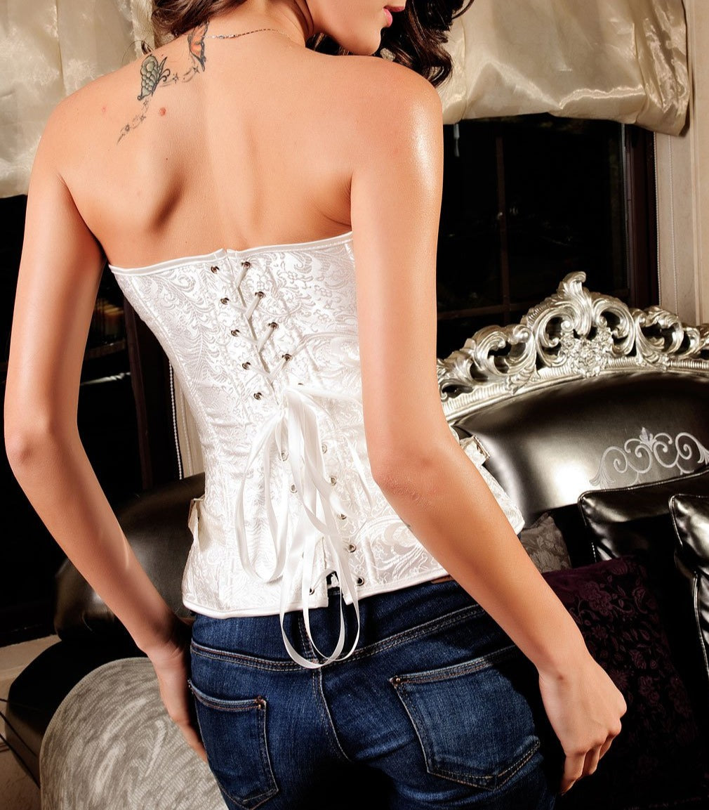 Luxurious Pteris Jacquard Corset White