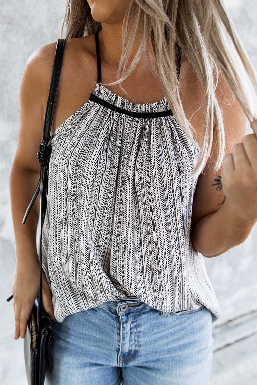 Gray Printed Side Tie Detail Tank Top