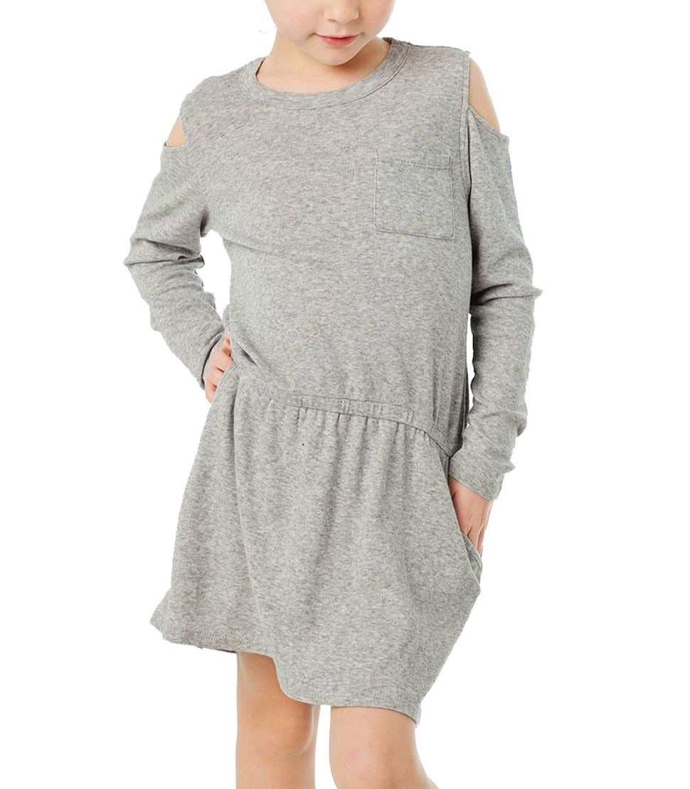 Gray Girl's Long Sleeve Cold Shoulder Dress