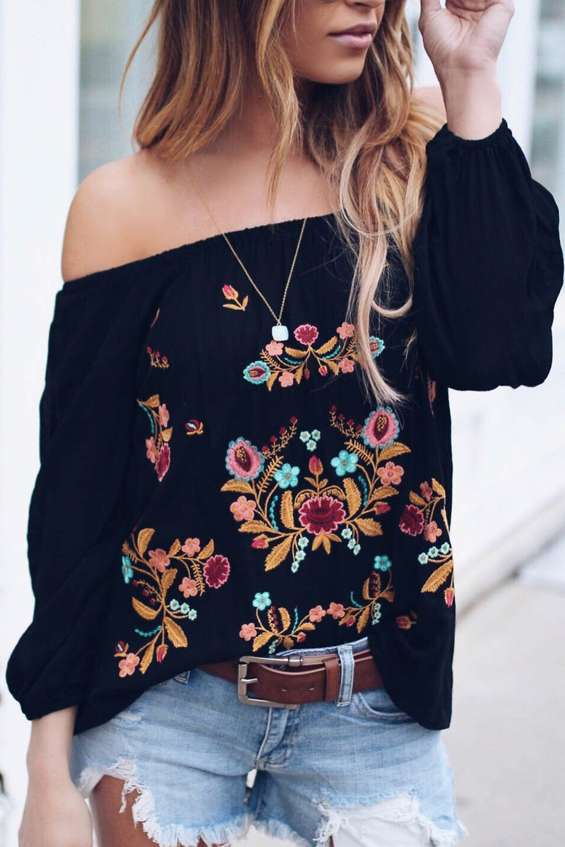 Black Embroidered Off Shoulder Long Sleeve Bohemian Floral Blouse