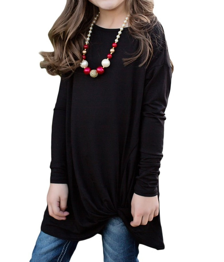 Black Twist Knot Detail Long Sleeve Girl's Top