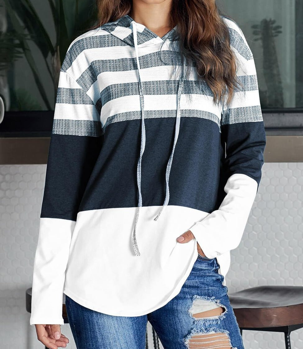 White Speak to Me Color Block Drawstring Hoodie