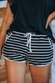 Black Disconnect Striped Cotton Blend Pocketed Shorts