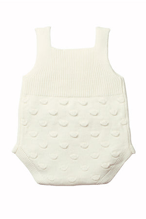 White Ribbed & Spotted Cotton Knit Sleeveless Baby Romper