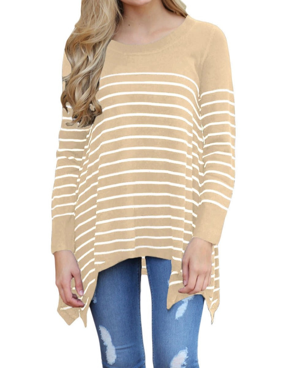 Khaki Striped Knit Pullover Sweater Top