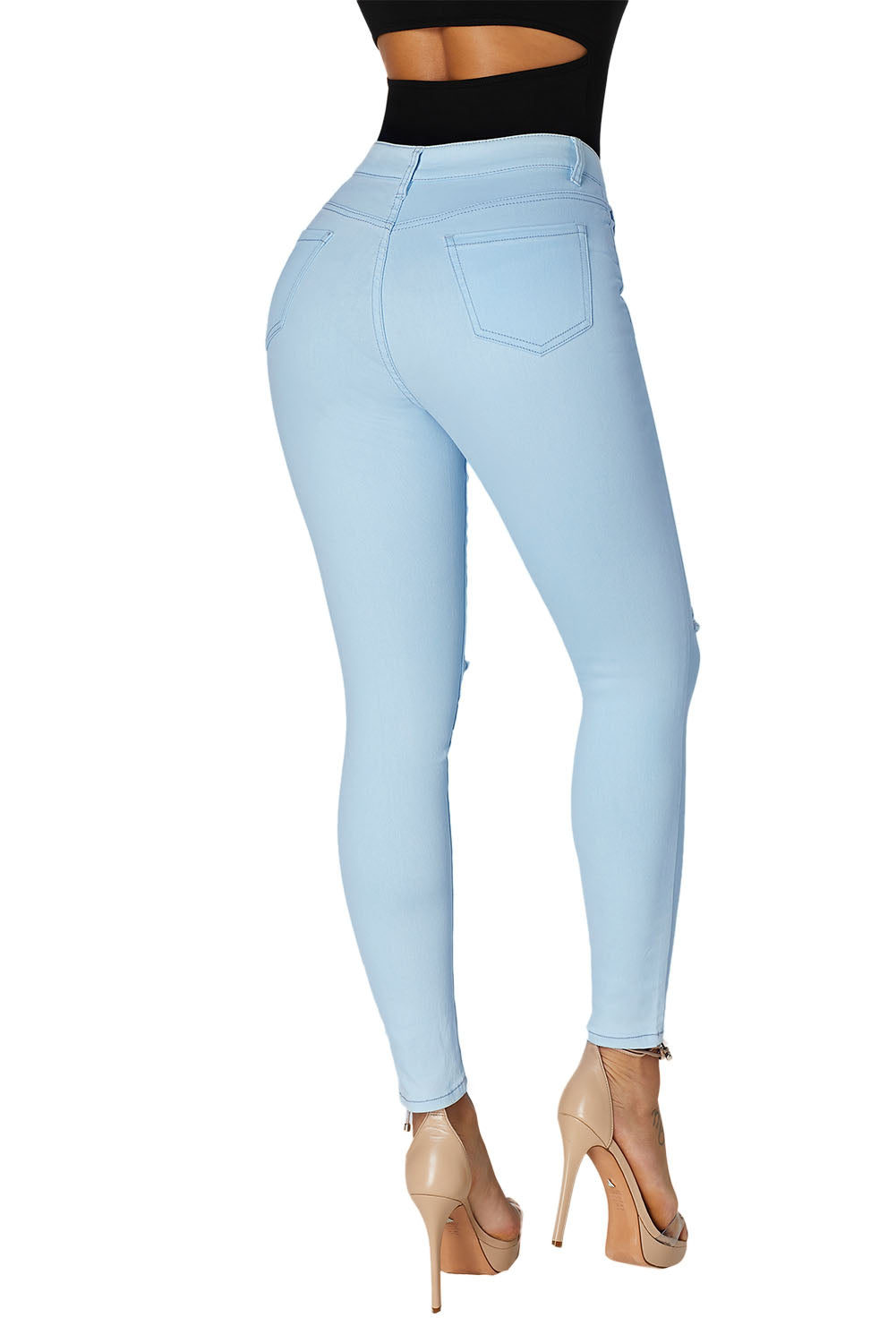 Light Blue Trendy Slit Knee Denim Pants