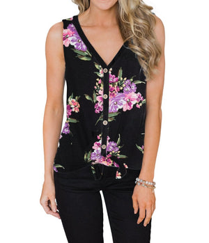 Black Touch The Sky Open Front Floral Tank Top