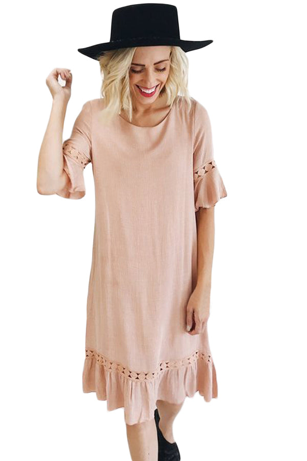 Blush Pink Half Sleeves Wide Ruffle Hem Midi Dress
