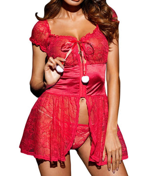 Bewitching Red Lace Babydoll with Pom-poms
