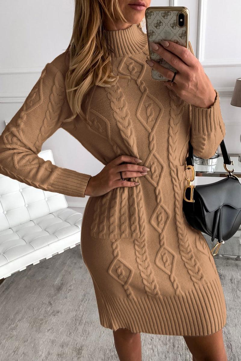 Brown High Neck Textured Bodycon Sweater Dress