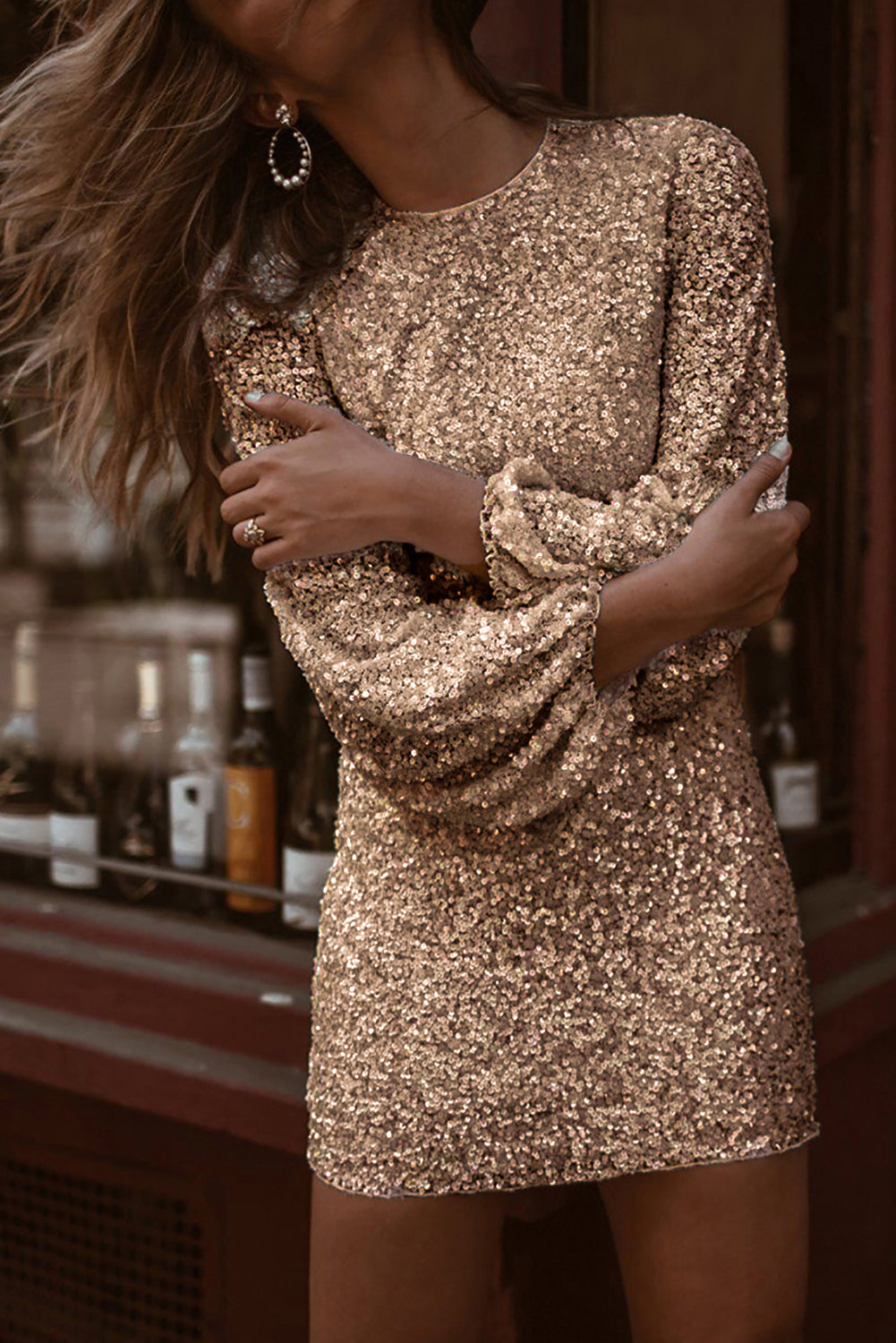 Gold Puffy Sleeve Sequin Party Mini Dress