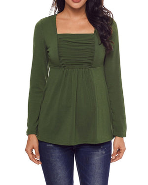 Army Green Square Neckline Ruched Long Sleeve Blouse