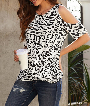 White Leopard Print Cold Shoulder Top