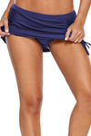 Blue Ruched Side Vent Detail Swim Skirt