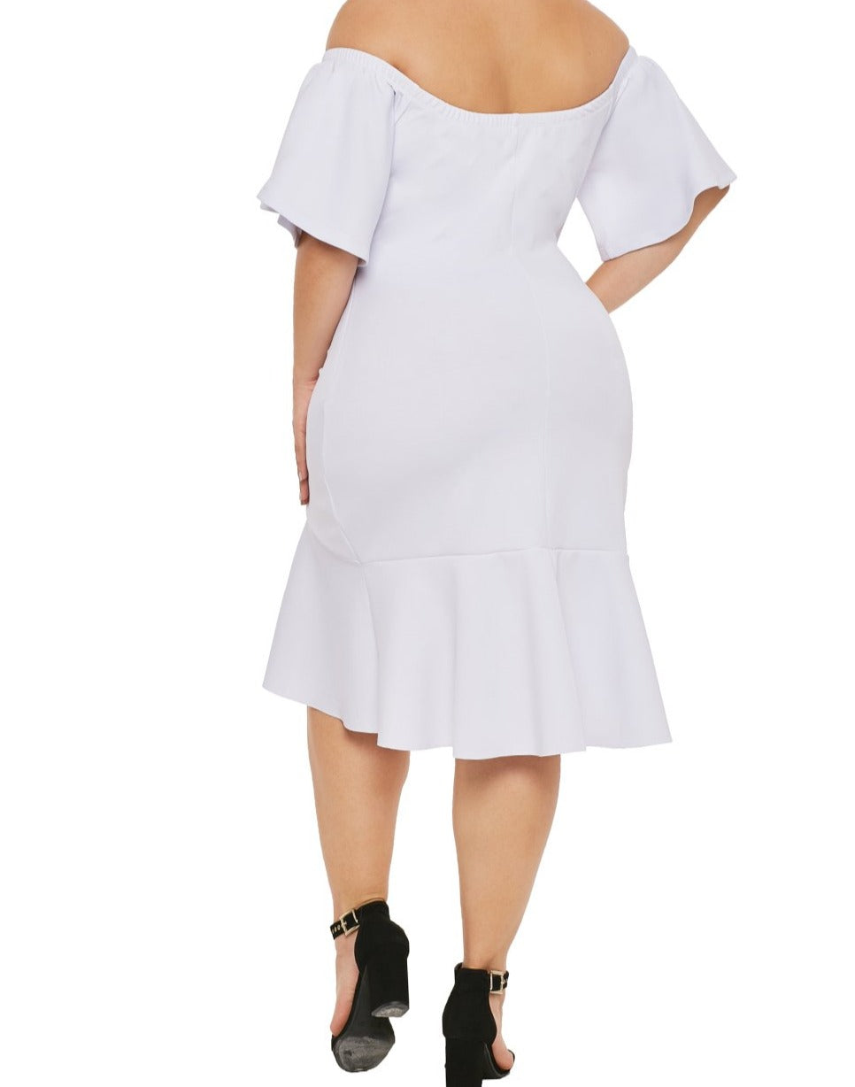 White Off Shoulder Plus Size Dress with Ruffles