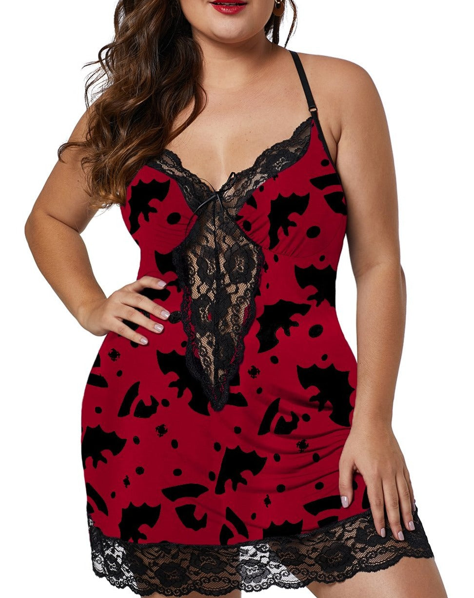 Red Print Venecia Chemise with Lace Trim