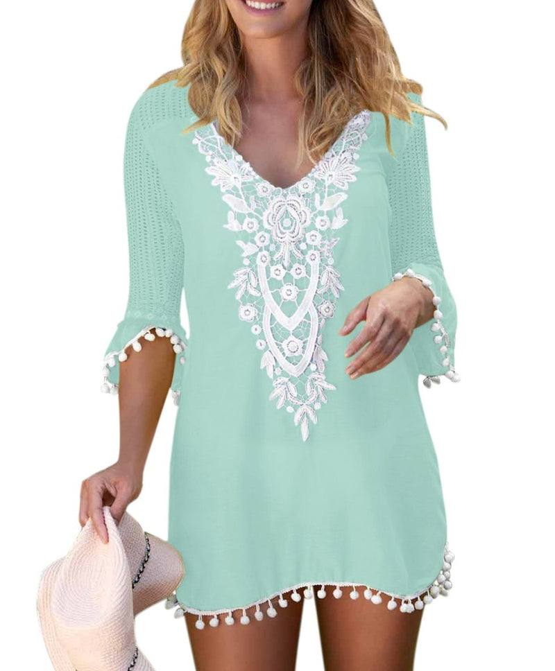 Green Crochet Pom Pom Trim Beach Tunic Cover up