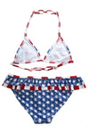Layered Ruffle Trim American Flag Bathing Suit