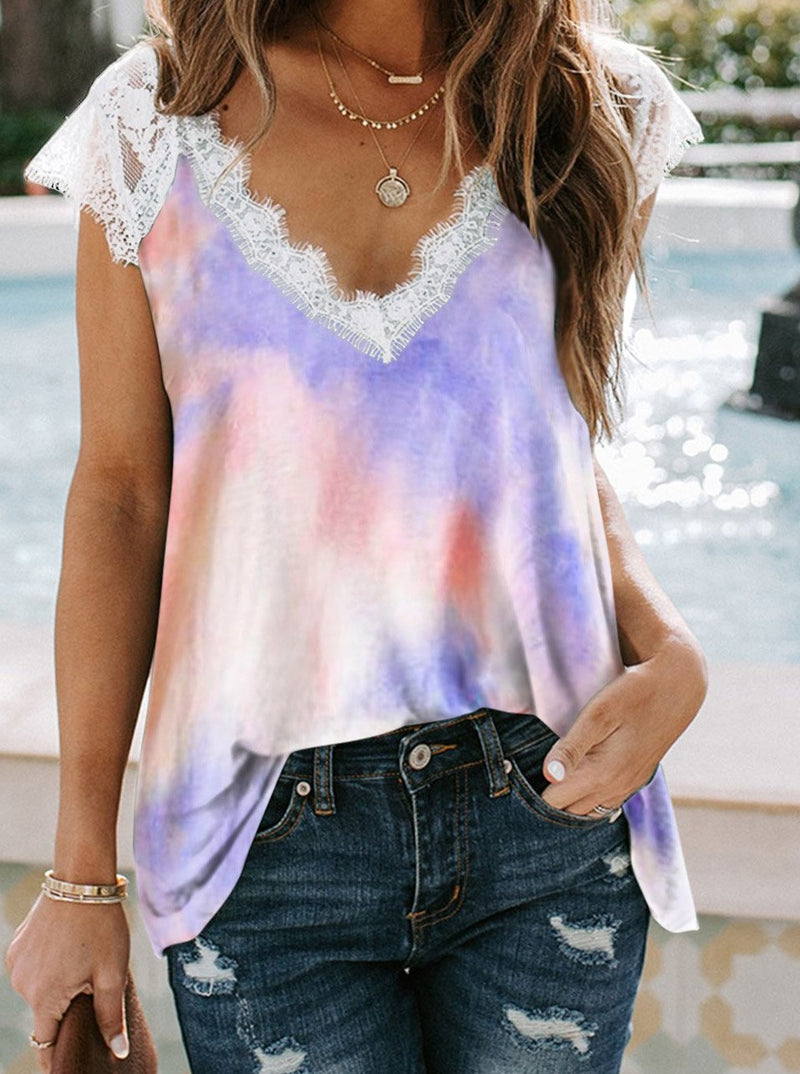 Purple Lace Splicing V Neck Short Sleeve Tie-dye Top
