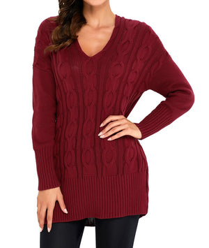 Wine Oversized Cozy up Knit Sweater