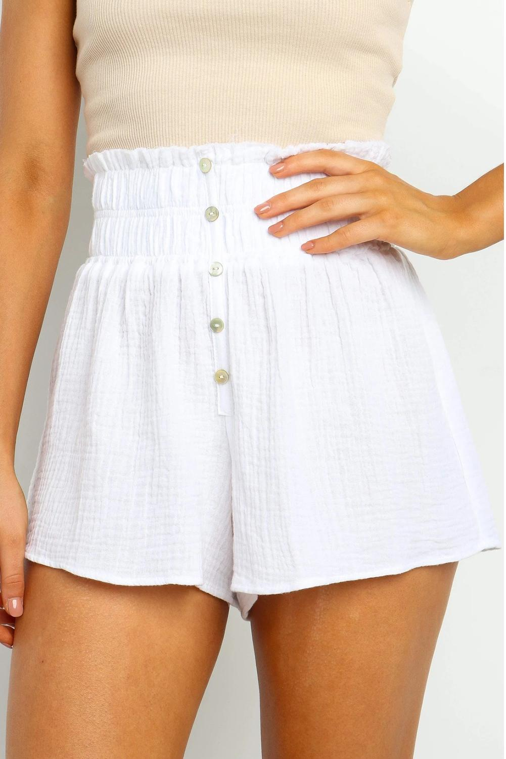White Crapy Banner Shorts