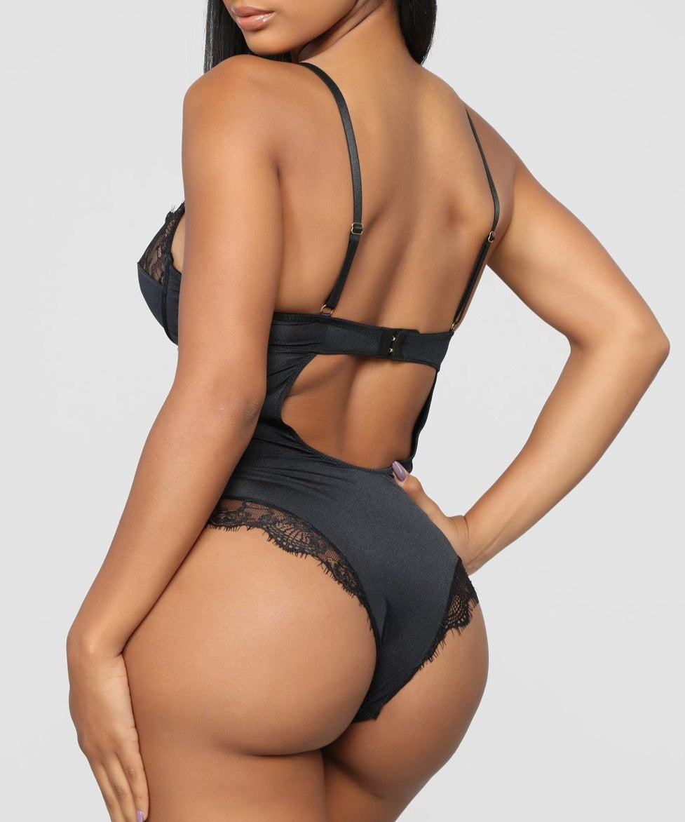 Spaghetti Strap Backless Black Teddy