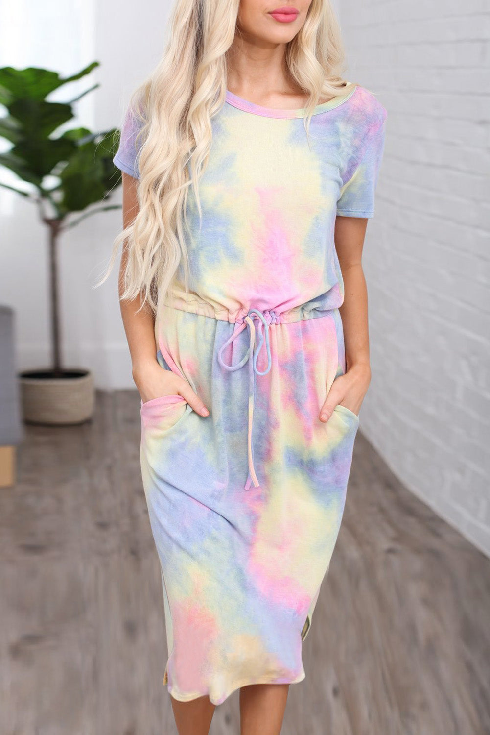 Yellow Tie-dye Cotton T-shirt Dress