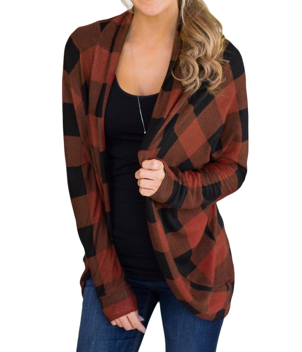 Red Open Front Irregular Lattice Print Ladies Cardigan Coat