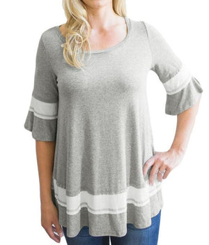 Grey Striped Color Block Half Sleeve Babydoll Tunic
