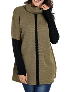 Army Green Individual Cowl Neck Pullover Sweater