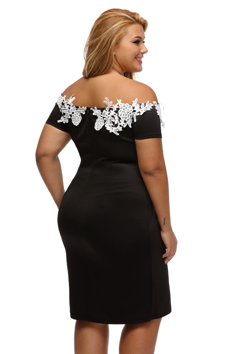 Lace Crochet Off Shoulder Black Plus Size Pencil Dress
