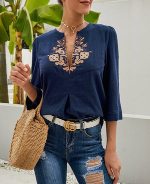 Blue Boho Embroidered V Neck 3/4 Sleeve Casual Blouse