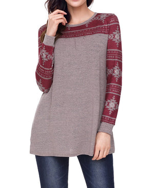Taupe Burgundy Aztec Long Sleeve Top