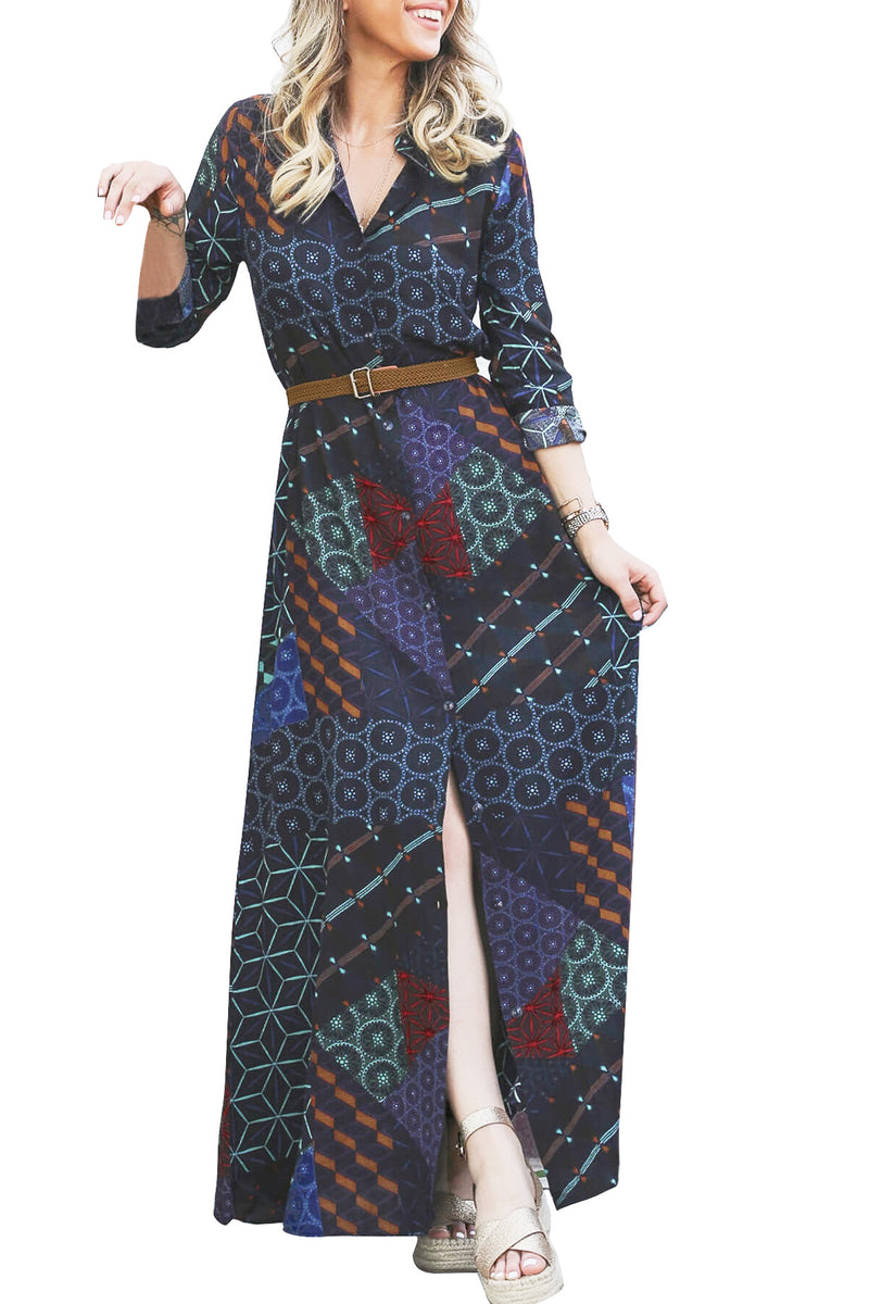 Navy Green Boho Print Belted Maxi Shirt Dress