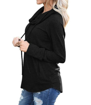 Black Drawstring Cowl Neck Sweatshirt