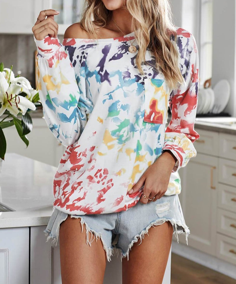 Multicolor Tie Dye Long Sleeve Top