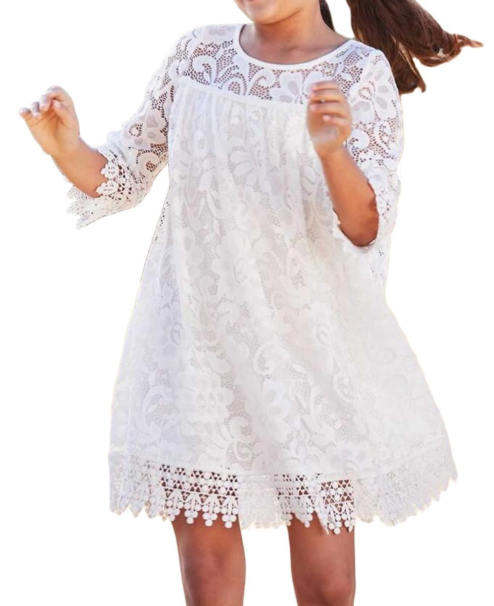 White Girls Dreamy Lace Dress