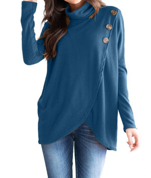 Slate Blue Button Cowl Neck Overlap Tunic Top