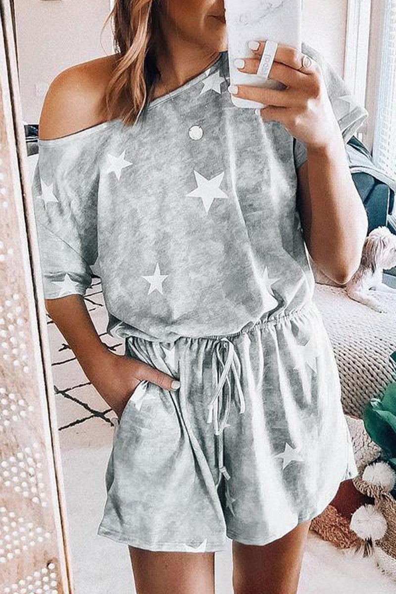 Gray Star Print Short Sleeve Playsuit