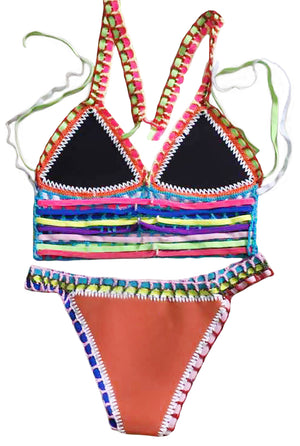 Multicolor Tie Up Crochet Orange Neoprene Bikini Swimsuit