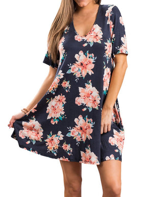 Dark Blue Pocket Design Summer Floral Shirt Dress